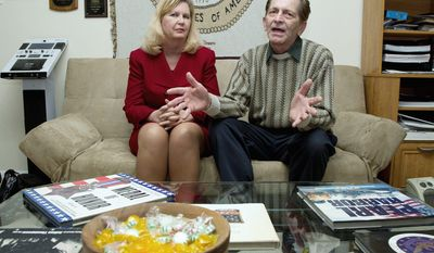 Doug and Pam Sterner discuss the Stolen Valor Act earlier this month at their home in Alexandria, Va. She is the author of a college paper that led to the drafting of the federal law in 2006, the Stolen Valor Act, aimed at curbing false claims of military valor, and he exposes phony medal winners. The law is at the heart of a Supreme Court review. (Associated Press)