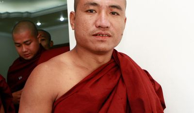 Shin Gambira, a dissident monk in Myanmar who helped lead an uprising against the government, is facing new legal action after being released from jail Jan. 13. (Associated Press)