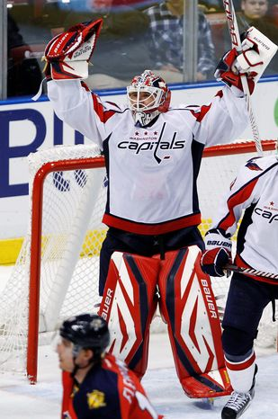 Capitals goalie Tomas Vokoun was feeling fine after a 2-1 win over the Florida Panthers on Friday night. (Asso