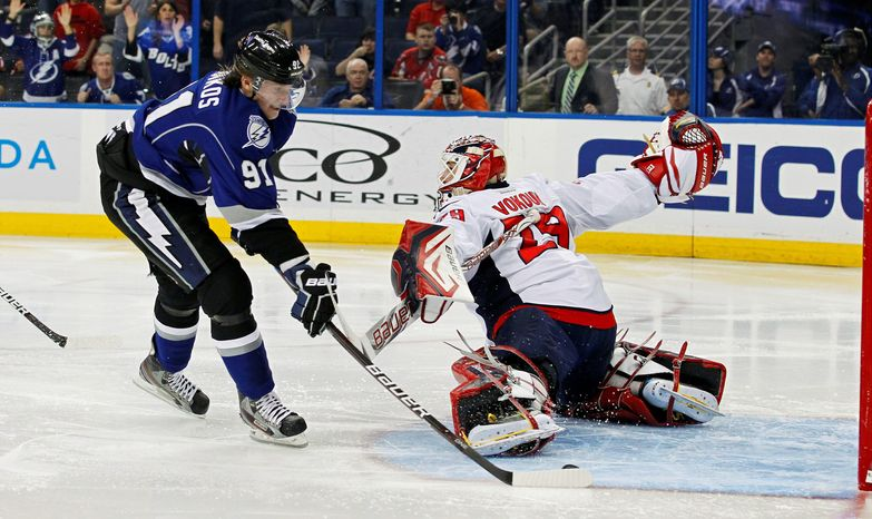 Steven Stamkos' NHL-leading 40th goal proved too much for the Washington Capitals to overcome in a 2-1 loss to the Tampa Bay Lightning on Saturday night. (Associated Press)