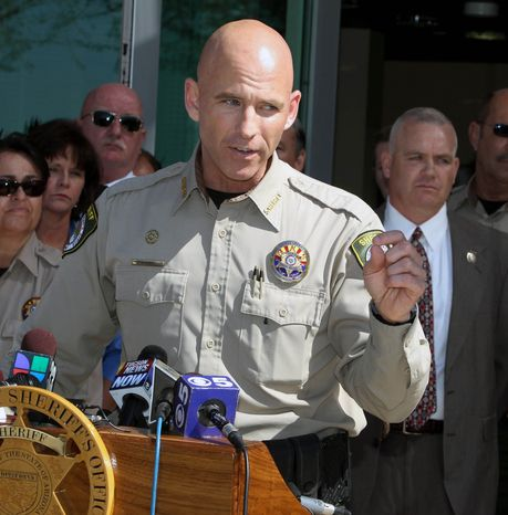 Pinal County Sheriff Paul Babeu speaks at a news conference on Saturday, Feb. 18, 2012, in Florence, Ariz. (AP Photo/The Arizona Republic, Deir