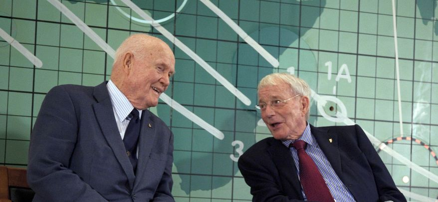 Former Sen. John Glenn (left) and Scott Carpenter, the last surviving Mercury astronauts, speak at the Kennedy Space Center on Friday, Feb. 17, 2012, in Cape Canaveral, Fla., during an event marking the 50th anniversary of Mr. Glenn's launch into orbit. (AP Photo/Michael Brown)