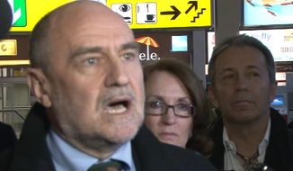 Herman Nackaerts of the International Atomic Energy Agency speaks to reporters at the airport in Vienna, Austria, on Sunday, Feb. 19, 2012, as he prepares to depart for Tehran for a nuclear-inspection visit. (AP Photo/AP Television News)