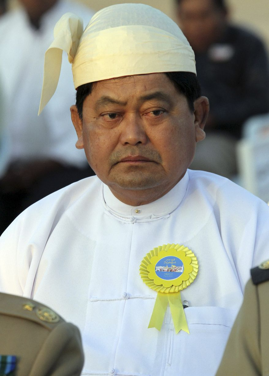 **FILE** Myanmar's Sports Minister Tint Hsan attends a Feb. 12, 2011, ceremony to mark the 64th Union Day in Naypyitaw, Myanmar. (Associated Press)