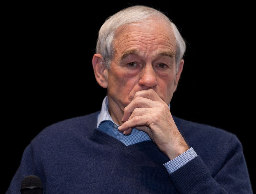 Republican presidential candidate and Texas Rep. Ron Paul speaks Feb. 19, 2012, at Williston High School in Williston, N.D. His appearance was organized by the North Dakota Policy Council. (Associated Press/Williston Herald)