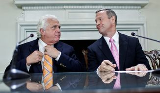 Maryland Senate President Thomas V. Mike Miller Jr. (left) said a budget proposed by Gov. Martin O'Malley is too light on cuts and too heavy on spending. The Senate likely will begin debating the budget this month, Mr. Miller said. (The Washington Times)