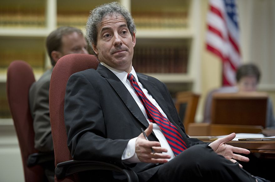 Sen. Jamie Raskin, Montgomery County Democrat, explains several of the amendments in the Civil Marriage Protection Act to his fellow Senate Judiciary Committee members before a vote on Feb. 21, 2012, in Annapolis. The committee passed the act by a vote of 7 to 4. (Barbara L. Salisbury/The Washington Times)