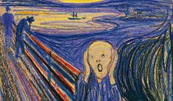 """One of four versions of """"The Scream"""" by Norwegian painter Edvard Munch will go up for auction at Sotheby's in New York on Wednesday, May 2, 2012. (AP Photo/Sotheby's)"""