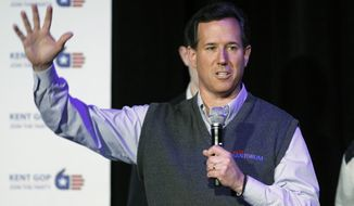 Republican presidential candidate and former Pennsylvania Sen. Rick Santorum speaks Feb. 20, 2012, at the Kent County Lincoln Day Dinner in Grand Rapids, Mich. (Associated Press)