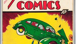 Superman makes his first appearance in Action Comics No. 1, and Batman swoops into the scene in Detective Comics No. 27. Both are part of a long-forgotten collection on the auction block Wednesday. (Heritage Auctions via Associated Press)