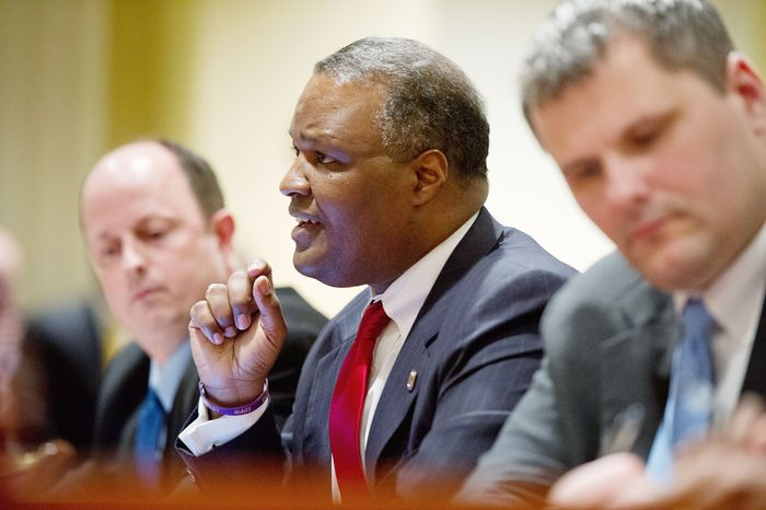 Prince George's County Executive Rushern L. Baker III speaks Wednesday in favor of a proposal to add slot machines at the National Harbor waterfront resort in Prince George's County during a hearing before the Senate Budget and Taxation Committee in Annapolis. (Andrew Harnik/The Washington Times)