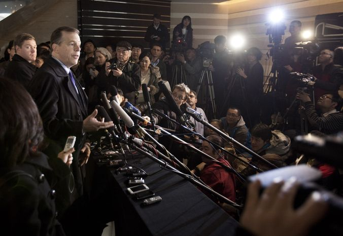 U.S. Special Representative for North Korea Affairs Glyn Davies speaks Feb. 22, 2012, to journalists upon arrival at a hotel in Beijing. (Associated Press)