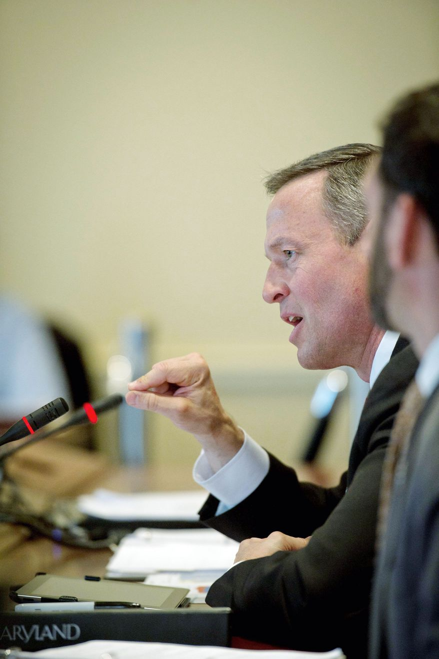 Maryland Gov. Martin O'Malley testifies on his offshore wind energy bill Thursday in Annapolis. Mr. O'Malley said the proposal would create jobs and lower reliance on fossil fuels while causing only a modest increase in energy prices. (Rod Lamkey Jr./The Washington Times)