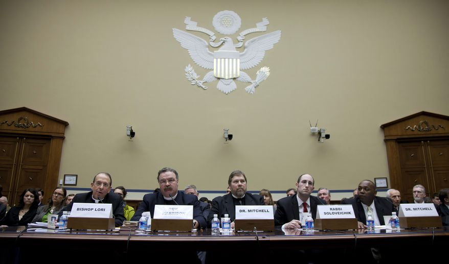 Testifying before the House Oversight and Government Reform Committee on Thursday, Feb. 16, 2012, in Washington are (from left) Bishop William E. Lori of Bridgeport, Conn.; the Rev. Matthew C. Harrison, president of the Lutheran Church-Missouri Synod; C. Ben Mitchell, Graves professor of moral philosophy at Union University in Jackson, Tenn.; Rabbi Meir Soloveichik, director of the Straus Center of Torah and Western Thought at Yeshiva University in New York; and Craig Mitchell, associate professor of ethics of the Southwestern Baptist Theological Seminary in Fort Worth, Texas. (AP Photo/Carolyn Kaster)