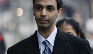 Former Rutgers University student Dharun Ravi arrives Feb. 24, 2012, for the opening arguments at his trial in New Brunswick, N.J. He is accused of using a webcam to spy on his roommate's intimate encounter with another man. The roommate later committed suicide. (Associated Press)
