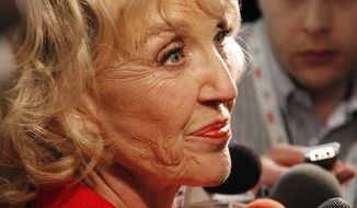 Arizona Gov. Jan Brewer speaks Feb. 22, 2012, to the media after a Republican presidential debate among the 2012 candidates in Mesa, Ariz. (Associated Press)
