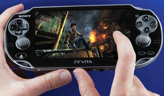 Sony's PS (PlayStation) Vita handheld gaming system features Nathan Drake in Uncharted: Golden Abyss.