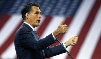 Republican presidential candidate Mitt Romney speaks on Friday, Feb. 24, 2012, to the Detroit Economic Club at Ford Field in Detroit. (Associated Press)