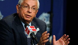 NBA Commissioner David Stern speaks to reporters before NBA All-Star basketball festivities in Orlando, Fla., Saturday, Feb. 25, 2012. (AP Photo/Lynne Sladky)