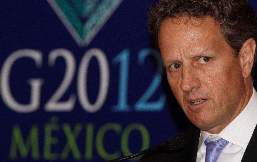 U.S. Treasury Secretary Timothy F. Geithner speaks at a meeting of the G-20 in Mexico City. He wants the EU to provide more debt-crisis stabilizing funds. (Associated Press)