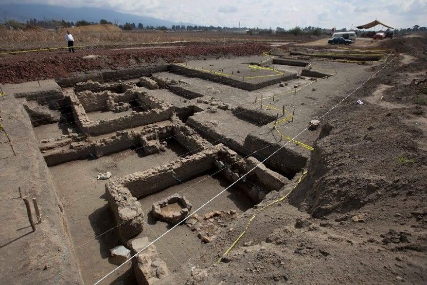 About 120 square yards of the estimated 5-acre site have been excavated, revealing stone and clay footings for houses that may have supported upper walls of wood or clay wattle. (Associated Press)