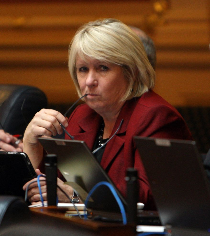 Del. Kathy J. Byron, Campbell Republican, sits in the House of Delegates at the State Capitol in Richmond, Va., Monday, Feb. 27, 2012. The Senate delayed a vote on Byron's bill that would require women seeking abortions to have ultrasound exams. (AP Photo/Richmond Times-Dispatch, Bob Brown)