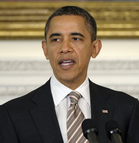 President Obama speaks Feb. 27, 2012, in the State Dining Room of the White House. (Associated Press)