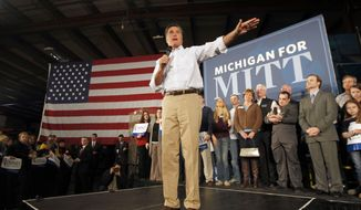 Republican presidential candidate, former Massachusetts Gov. Mitt Romney speaks at a campaign rally in Albion, Mich., Monday, Feb. 27, 2012. (AP Photo/Gerald Herbert)