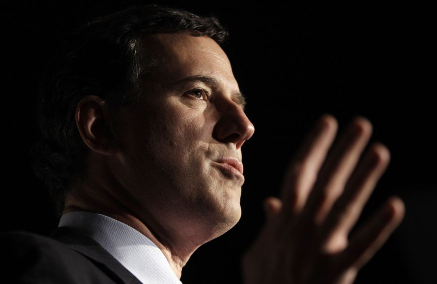Former Pennsylvania Sen. Rick Santorum speaks during a GOP presidential campaign rally on Sunday, Feb. 26, 2012, in Traverse City, Mich. (AP Photo/Eric Gay)