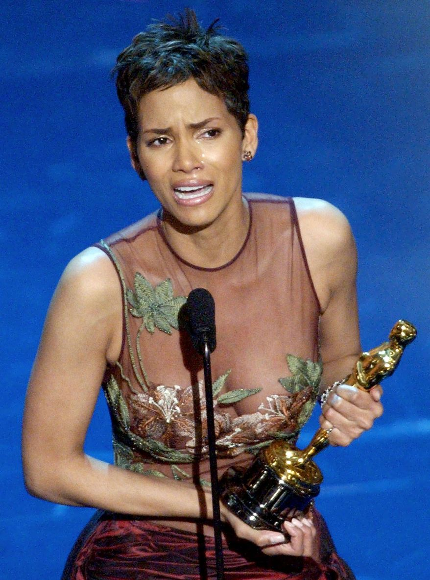 "Actress Halle Berry became the first black woman to win a best actress Oscar, for the film ""Monster's Ball,"" on March 24, 2002. (Associated Press)"