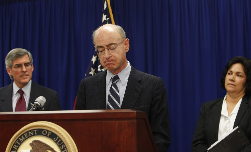 Daniel R. Levinson, inspector general of the U.S. Department of Health and Human Services (center), along with HHS Deputy Secretary Bill Corr and U.S. Attorney Sarah R. Saldana, speaks about federal charges in what the officials called the largest case of Medicare fraud in U.S. history. (AP Photo/L.M. Otero)