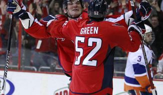 Washington Capitals left wing Alex Ovechkin celebrates his overtime game-winning goal with defenseman Mike Green against the New York Islanders on Tuesday, Feb. 28, 2012, in Washington. The Capitals won 3-2. (AP Photo/Haraz N. Ghanbari)