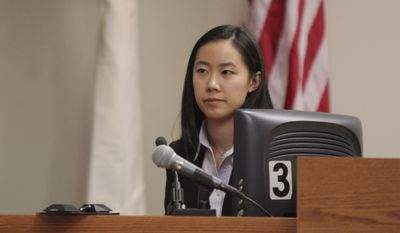 Molly Wei testifies Feb. 27, 2012, during the trial of Dharun Ravi in New Brunswick, N.J. Ravi is accused of using a webcam to spy on his college roommate Tyler Clementi's intimate encounter with another man. The roommate committed suicide days later. (Associated Press/The Star-Ledger)