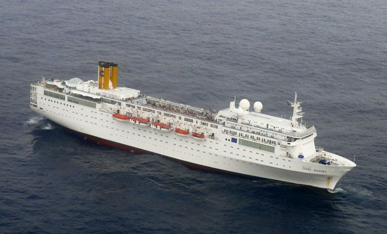 The stricken Costa Allegra cruise ship is seen at sea near the Seychelles on Tuesday, Feb. 28, 2012, in a photo taken by the Indian navy. (AP Photo/Indian navy