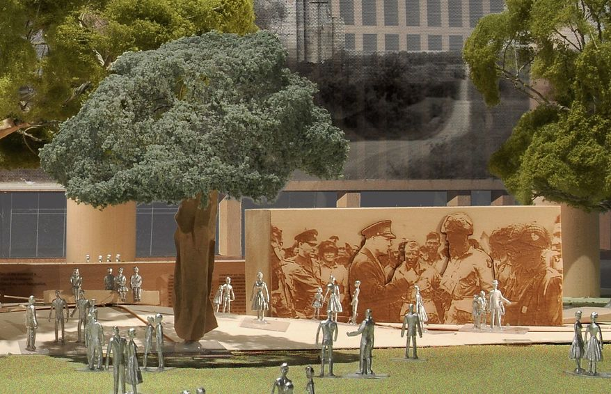 An artist's rendering of part of the planned memorial for Dwight D. Eisenhower on the Mall shows him addressing his troops on the eve of D-Day. Family members say the memorial overemphasizes his Kansas roots at the expense of his accomplishments. (Gehry Partners via Associated Press)