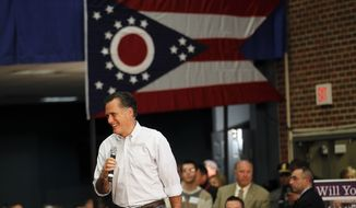 Republican presidential candidate, former Massachusetts Gov. Mitt Romney speaks at a town hall meeting at Capital University in Bexley, Ohio, Wednesday, Feb. 29, 2012. (AP Photo/Gerald Herbert)