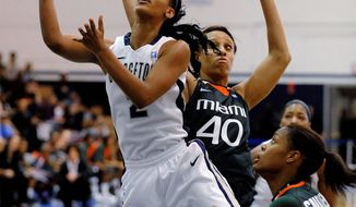 """This is my last go-around,"" Georgetown senior Tia Magee said of the Big East tournament. ""I'm having a lot of self-talk about the things that I have to do. But [I have also been] talking to the younger girls and trying to get them prepared."" (Associated Press)"