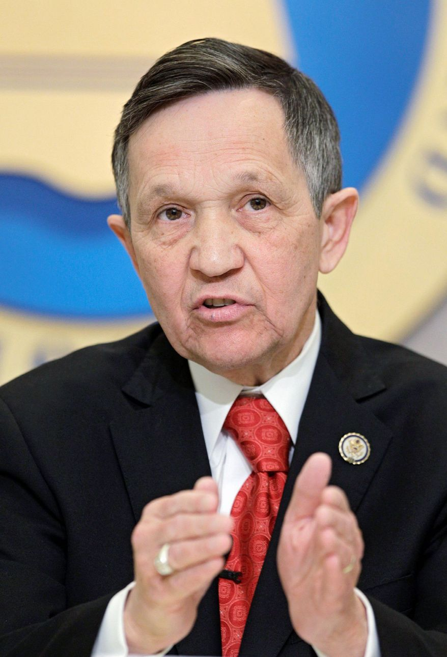 U.S. Rep Dennis Kucinich makes a point during a debate between Democratic candidates for the new 9th District at the City Club in Cleveland Monday, Feb. 20, 2012. Kuchinich faces Congresswoman Marcy Kaptur and businessman Graham Veysey in the March 6 primary. (AP Photo/Mark Duncan)