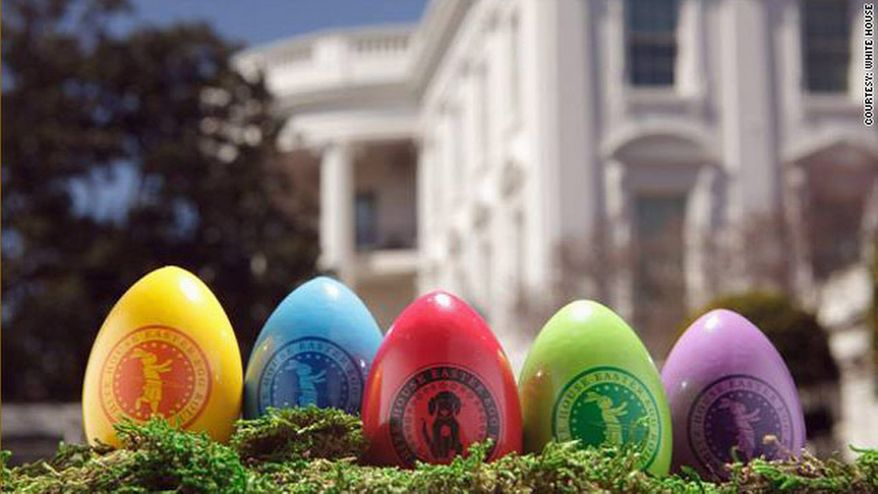 The White House is selling special-edition souvenir eggs ahead of its Easter Egg Roll on April 9. A single egg costs $7.50 while a set is $30, and the commemorative red egg features the first dog's paw print. (White House photo)