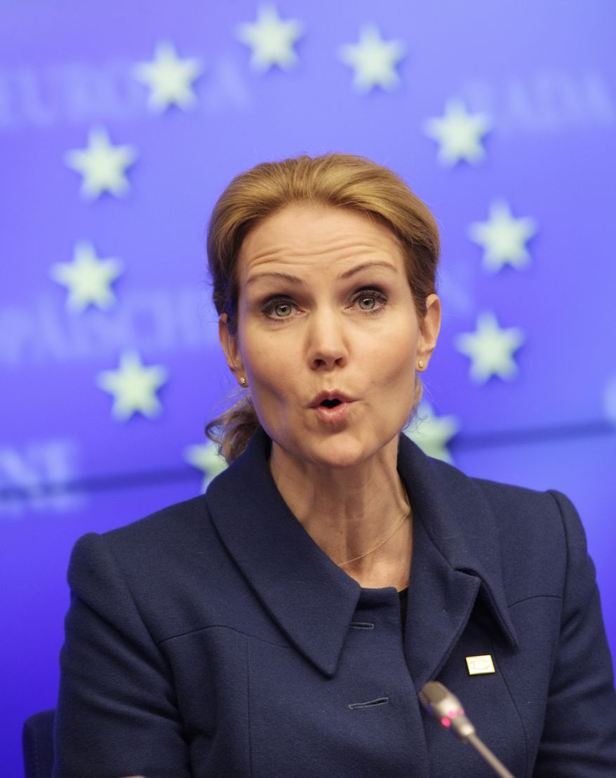 Denmark Prime Minister Helle Thorning-Schmidt speaks March 1, 2012, during a media conference at an EU summit in Brussels. European leaders meet for a two-day summit aimed at tackling unemployment and boosting economic growth in the region. (Associated Press)