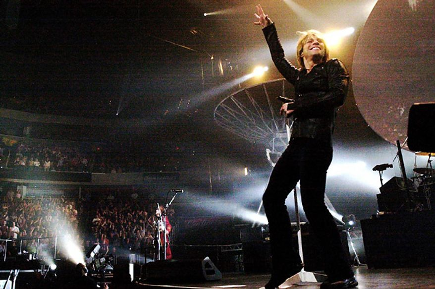 Jon Bon Jovi performs to a packed house at the MCI center Sunday night in Washington DC. March 9, 2003. (Photo: The Washington Times)