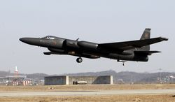 A U.S. Air Force U-2 spy plane on a training flight takes off from Osan Air Base, south of Seoul, on Thursday, Feb. 16, 2012. The Cold War-era aircraft has been one of Washington's only reliable windows into military movements inside North Korea for more than 35 years. (AP Photo/Lee Jin-man)