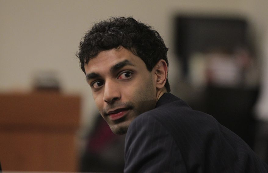 Dharun Ravi looks at spectators during his trial at the Middlesex County Courthouse in New Brunswick, N.J. on March 1, 2012. Ravi is accused of using a webcam to spy on his roommate, Tyler Clementi, intimate encounter with another man. Days later Clementi committed suicide. (Associated Press/The Star-Ledger)