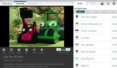 """This image provided by Aereo shows a screenshot from the iPad showing Aereo.com streaming """"Bob the Builder"""" on New York's PBS station, WNET 13. The service launched in February 2012 in New York, giving access to live TV from local stations on the iPad, iPhone and iPod touch. (Associated Press)"""