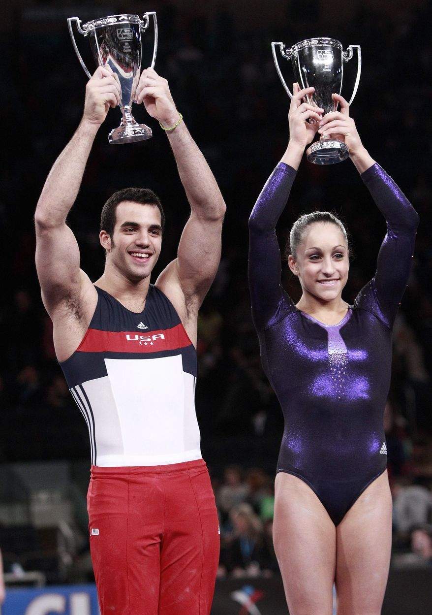 Danell Leyva, left, and Jordyn Wieber pose after winning the American Cup gymnastics competition at Madison Square Garden in New York on Saturday, March 3, 2012. (AP Photo/Frank Franklin II)
