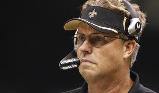 ** FILE ** In this Sept. 26, 2010, file photo, Saints defensive coordinator Gregg Williams looks on during an NFL football game against the Atlanta Falcons at the Louisiana Superdome in New Orleans. (AP Photo/Gerald Herbert, File)