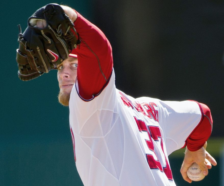 Nationals ace Stephen Strasburg struck out three Houston Astros during his 44-pitch outing at Space Coast Stadium. Washington dropped a 10-2 decision to Houston. (Andrew Harnik/The Washington Times)