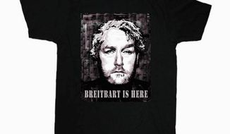The designer of a new T-shirt memorializing Andrew Breitbart says all sales profits will go to Mr. Breitbart's kin. (Photo courtesy Anthem Studios)