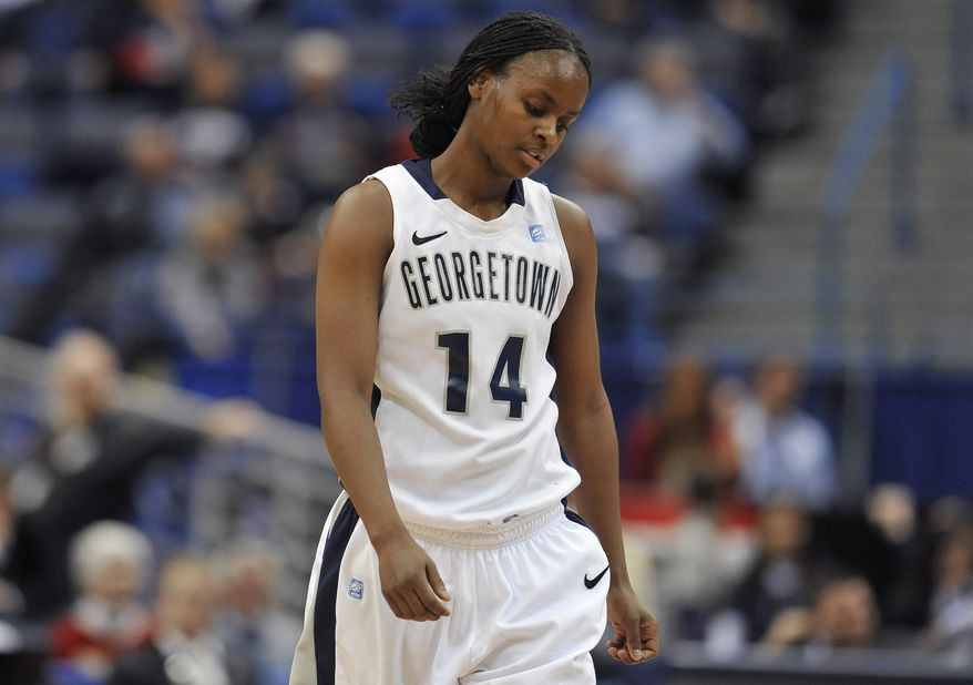 Georgetown's Sugar Rodgers reacts in the second half against West Virginia during the quarterfinals of the Big East women's tournament in Hartford, Conn., Sunday, March 4, 2012. West Virginia won 39-32. (AP Photo/Jessica Hill)