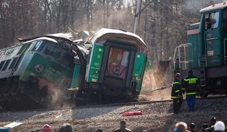 Rescuers work on Sunday, March 4, 2012, at the site where two trains collided head-on near Szczekociny, Poland, late on Saturday. (AP Photo/Wojtek Barczynski)